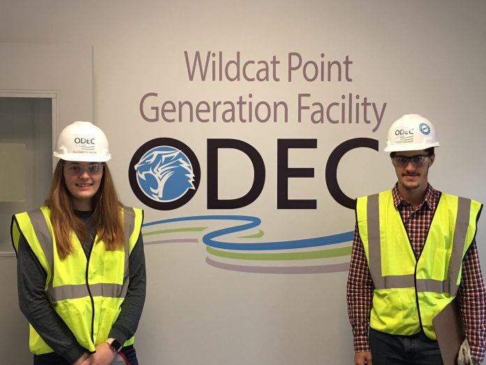 Cecil College engineering students Elizabeth Hikins and Tyler Bishop interned at Wildcat Point Generation Facility.