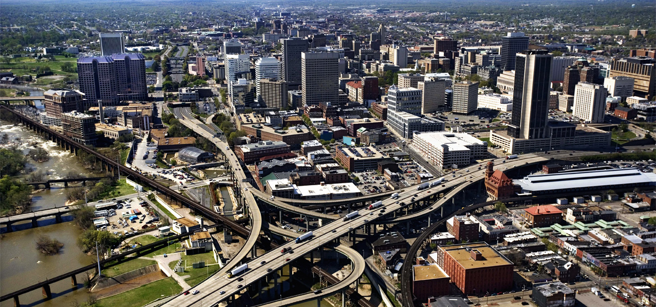 Aerial picture of Richmond, Virginia
