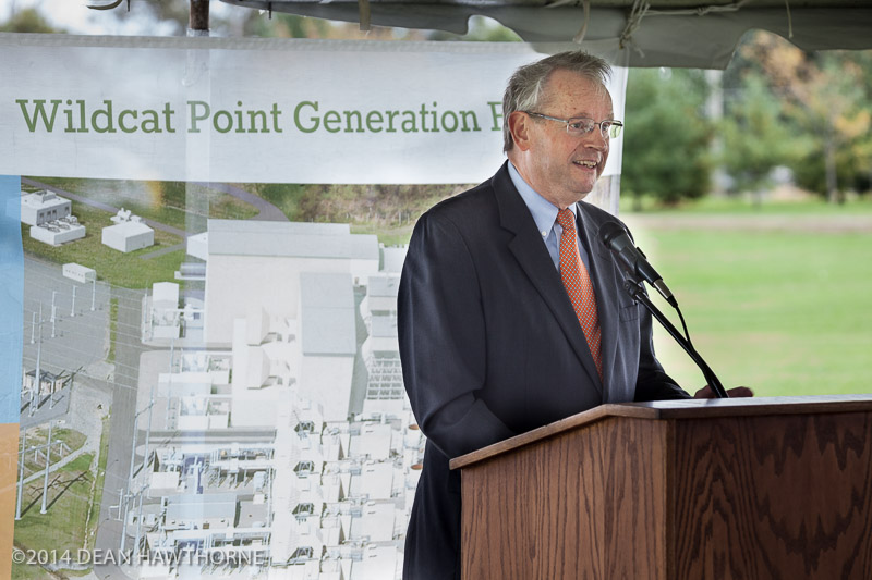 Jack Reasor,  ODEC President & CEO addresses the audience at the Wildcat Point Groundbreaking Ceremony on October 14, 2014.