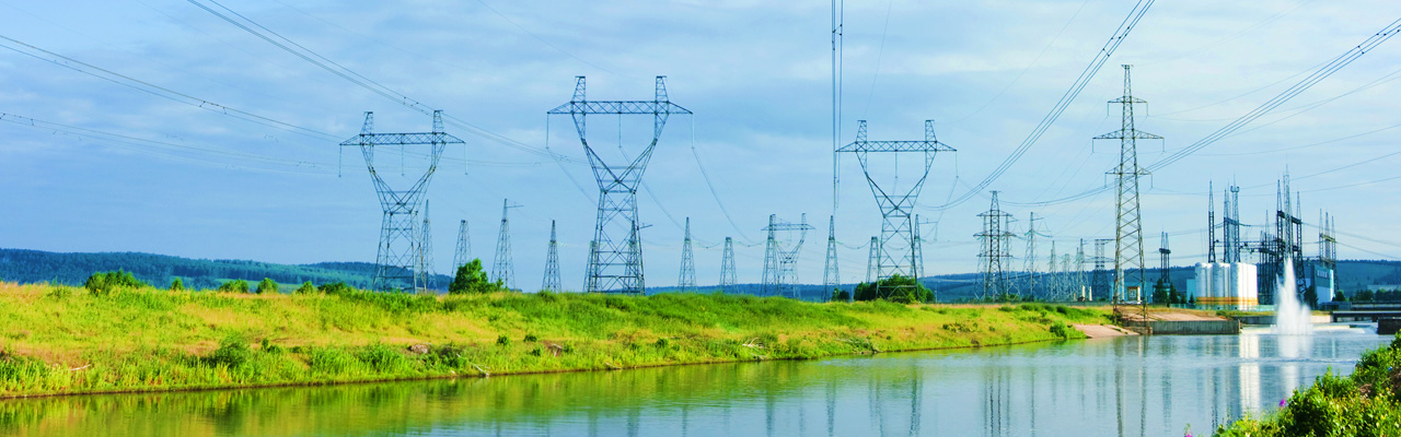 Power lines along a river